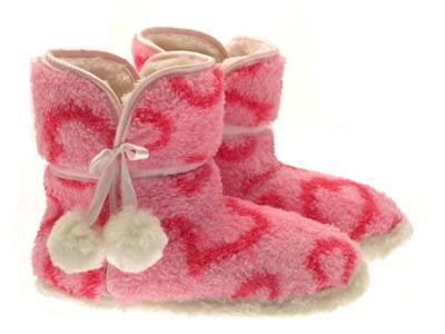LADIES PINK SOFT WARM WINTER BOOTIES WOMENS FUR SLIPPER BOOTS SIZES 3 - 8