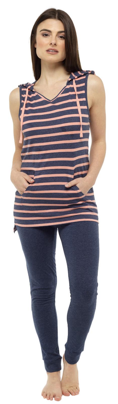 Leggings Jersey Pyjamas Pjs Set Womens Hooded Lounge Set Sleeveless Hoodie