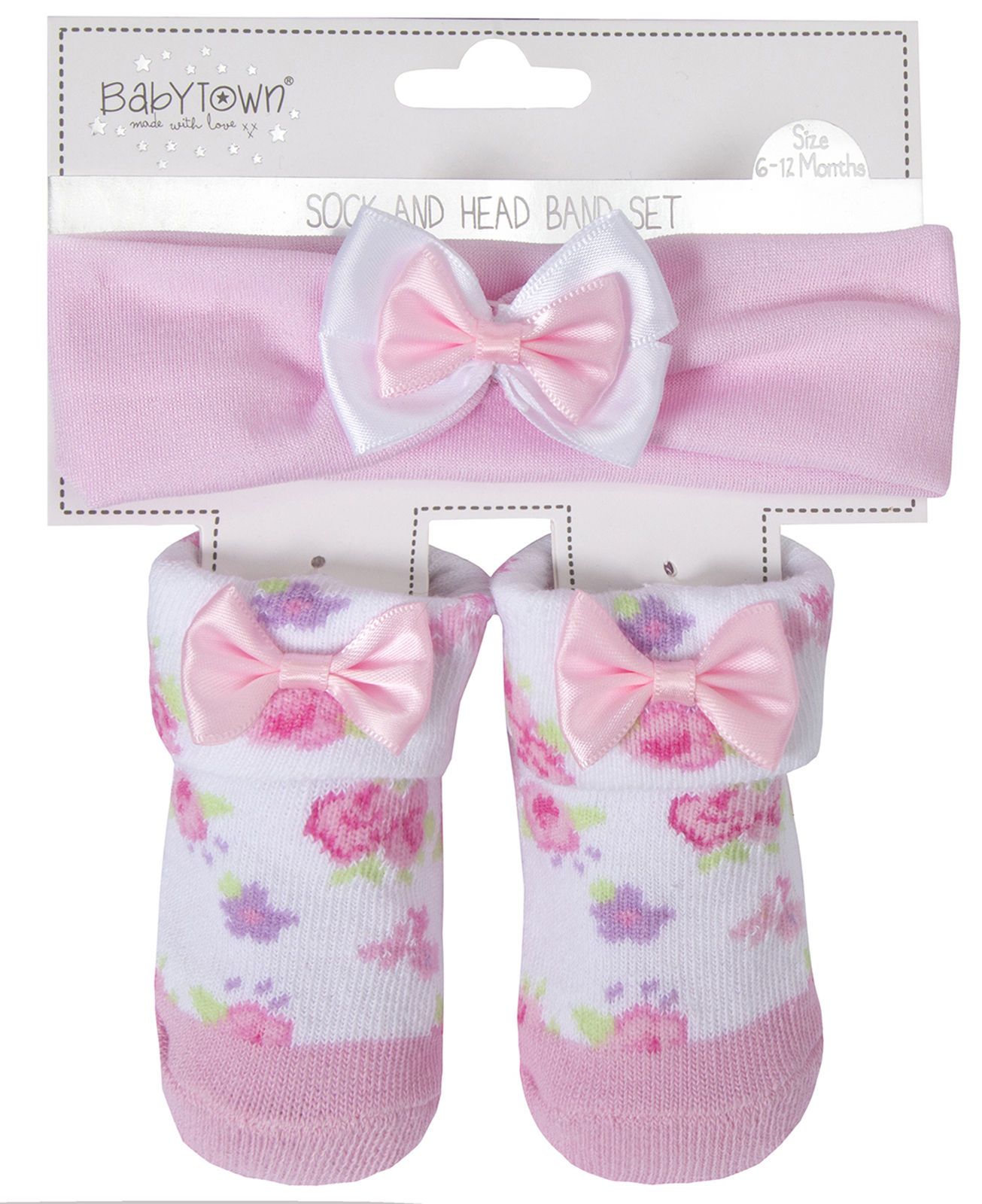 Baby Girls 3 Piece Gift Set Socks And Headband Babies Floral Striped Bunny Shoes