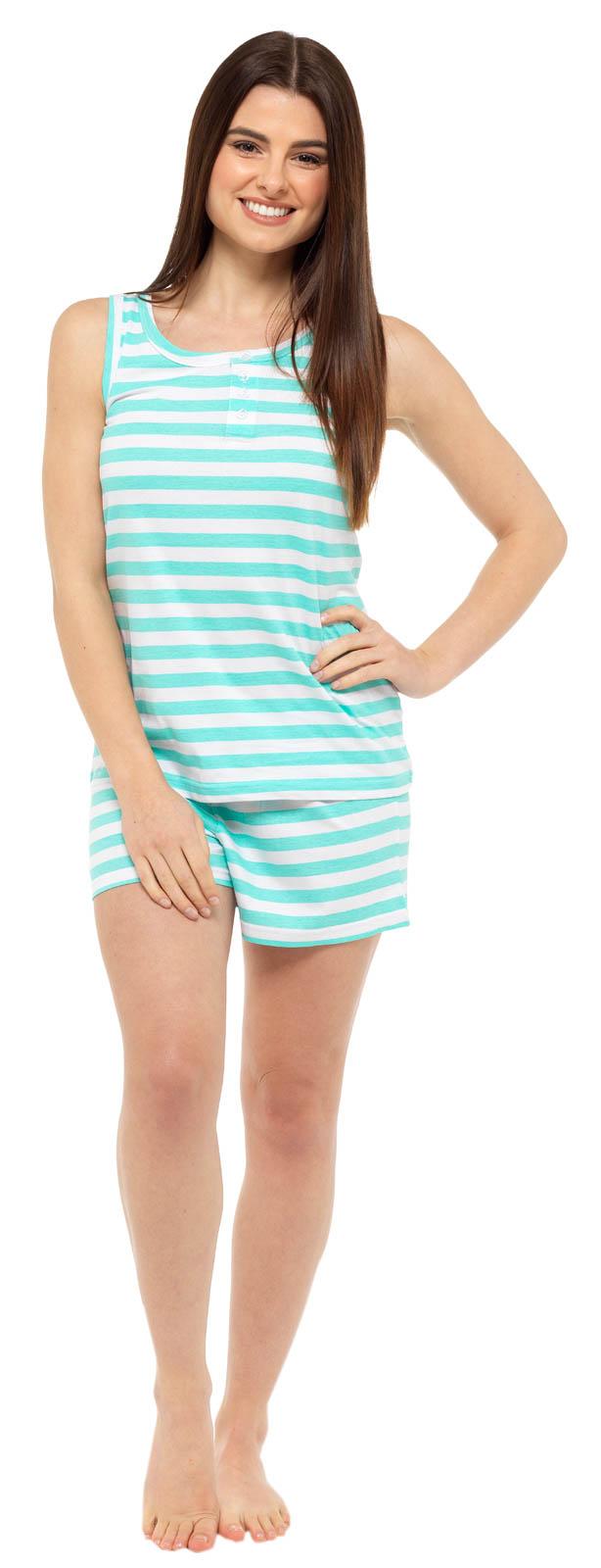 Womens Pyjamas Vest Top and Shorts Set 2 Piece Short Pjs Ladies Nightwear Size