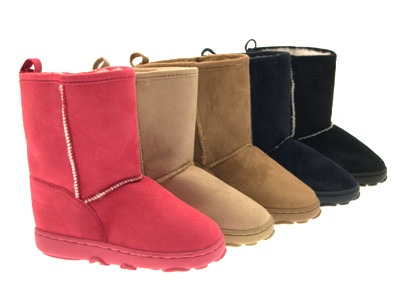KIDS CHILDRENS GIRLS WINTER WARM SNOW FUR LINED ANKLE BOOTS FAUX ...