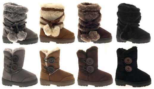 GIRLS ELLA BUTTON POMPOM FUR LINED SNOW WINTER BOOTS ANKLE KIDS ...