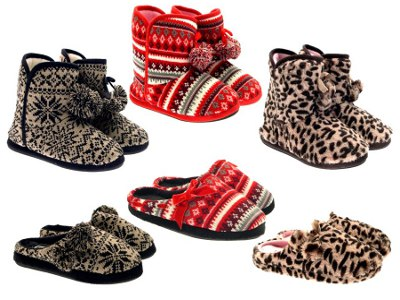 Womens Knitted Mules Fairisle Slippers Warm Winter Slip On Shoes ...