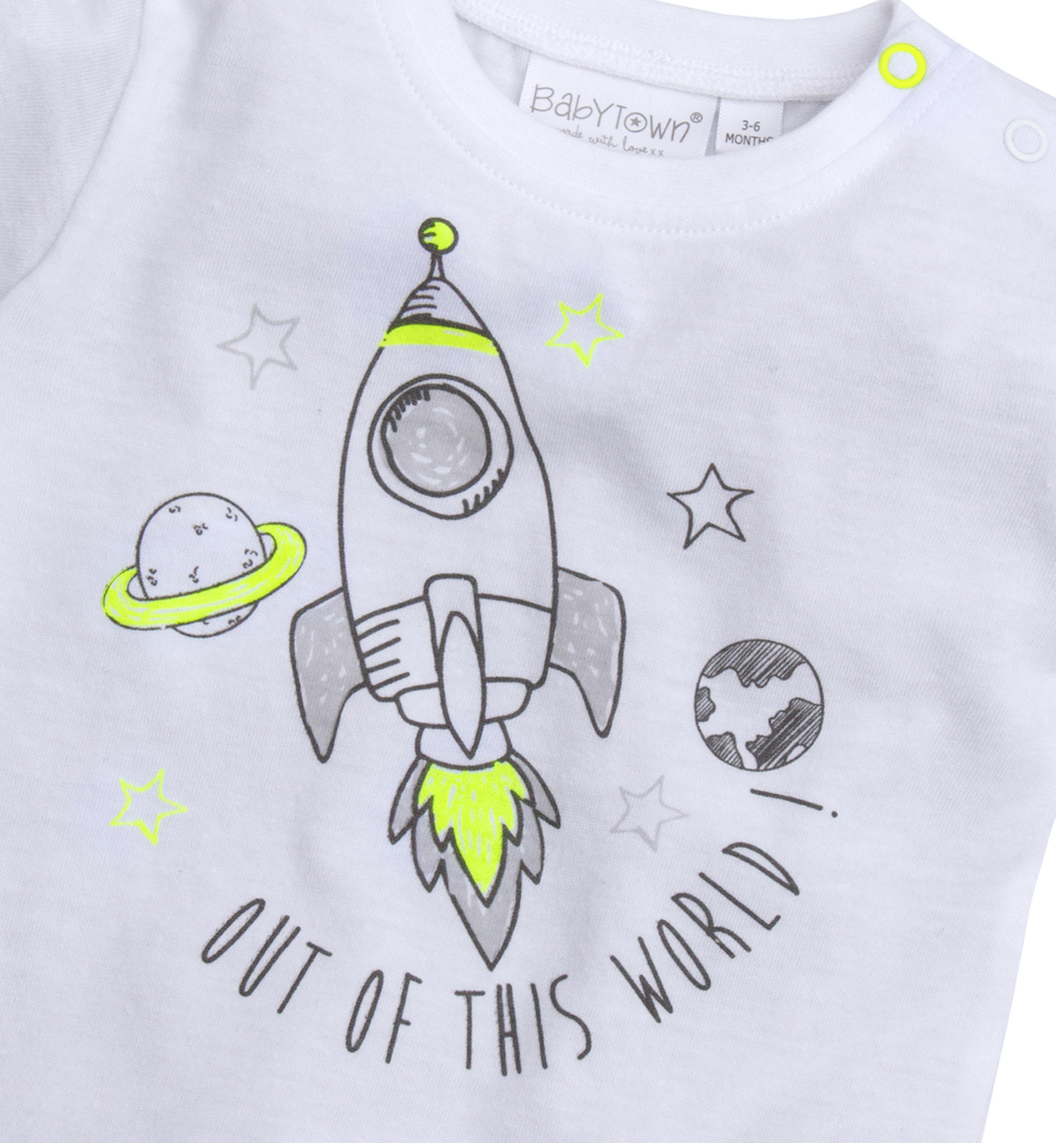 Baby Boys Jog Set T Shirt Joggers 2 Piece Outfit Toddlers Space Rocket Size