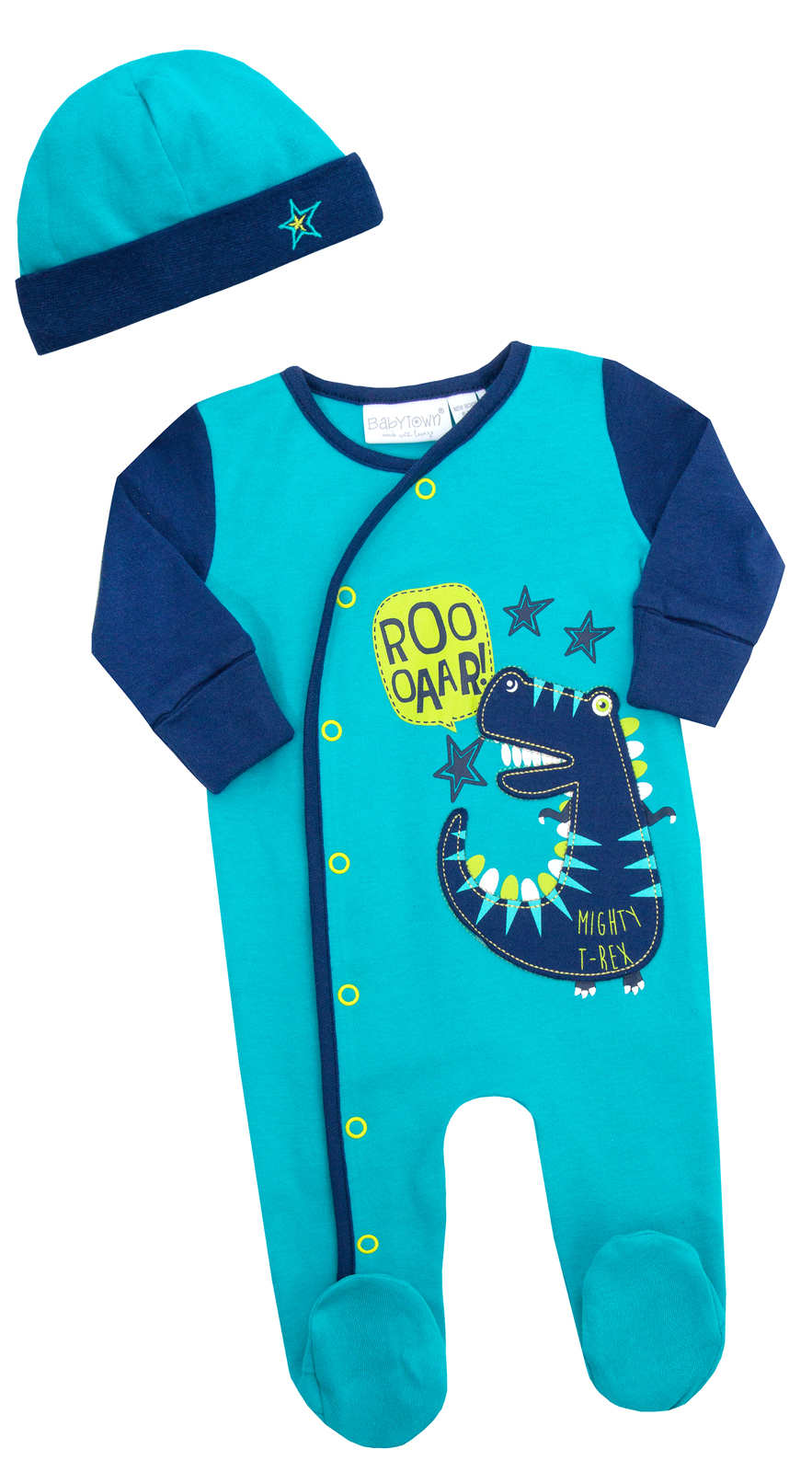 Baby Boys Girls Sleepsuit Hat 2 Piece Outfit Romper Set Babygrow Infants Size