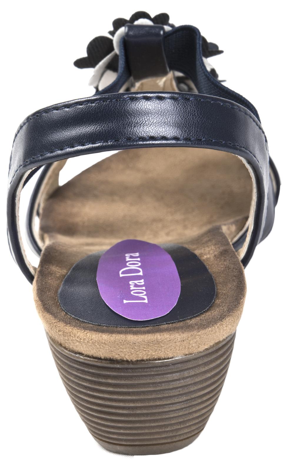Womens Comfort Summer Sandals Elastic Strap Low Wedge Heels 3D Flower Shoes Size