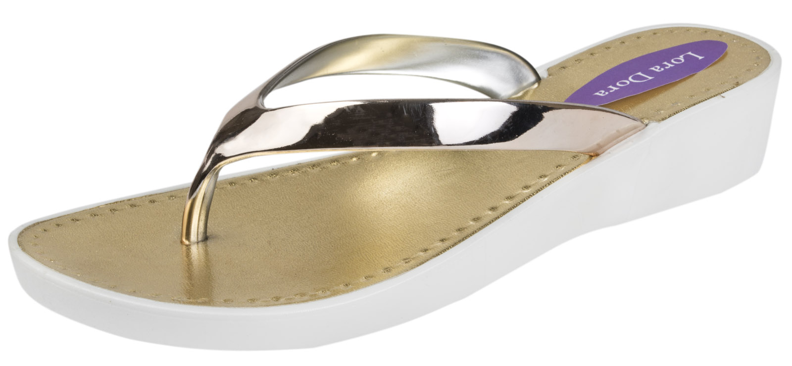 Womens Metallic Low Wedge Sandals Ladies Toe Post Flip Flops Summer Beach Shoes