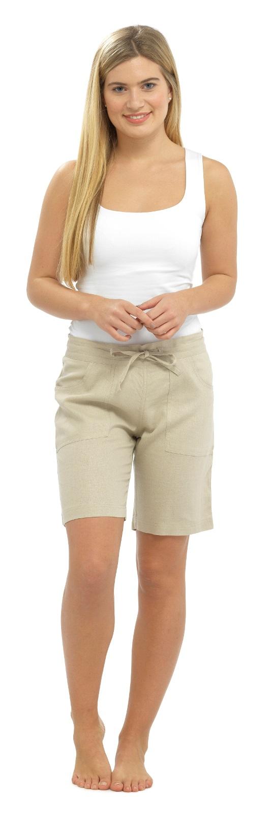 29483bb205f773 Womens Linen Shorts With Elasticated Waist Holiday Beach Hot Pants ...
