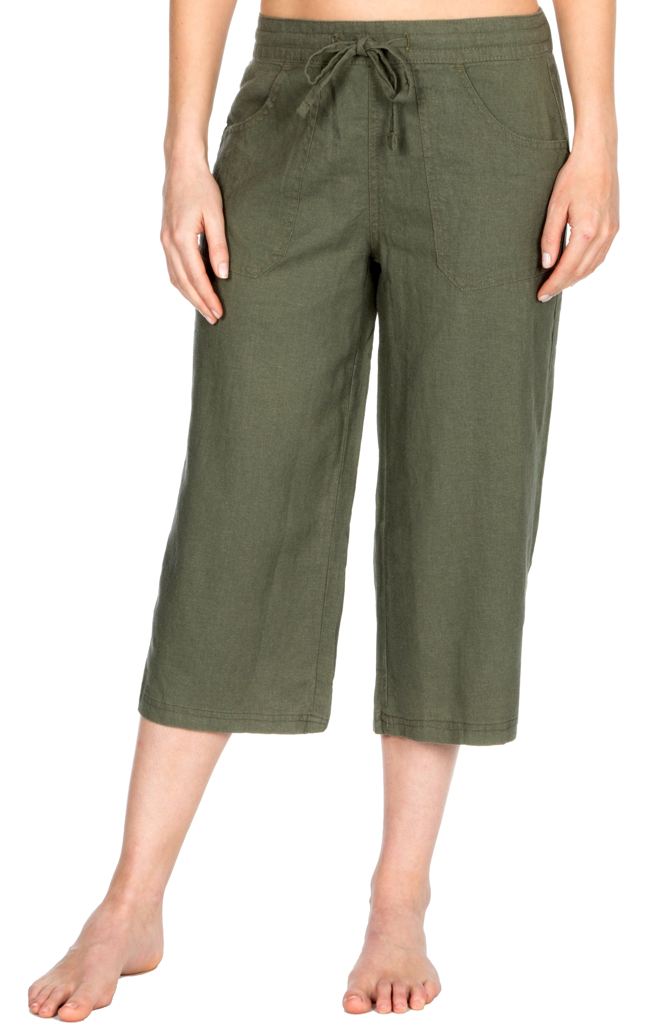 Womens Linen Trousers Cropped Capri or Full Length Pants Casual Fit Size UK 8-18