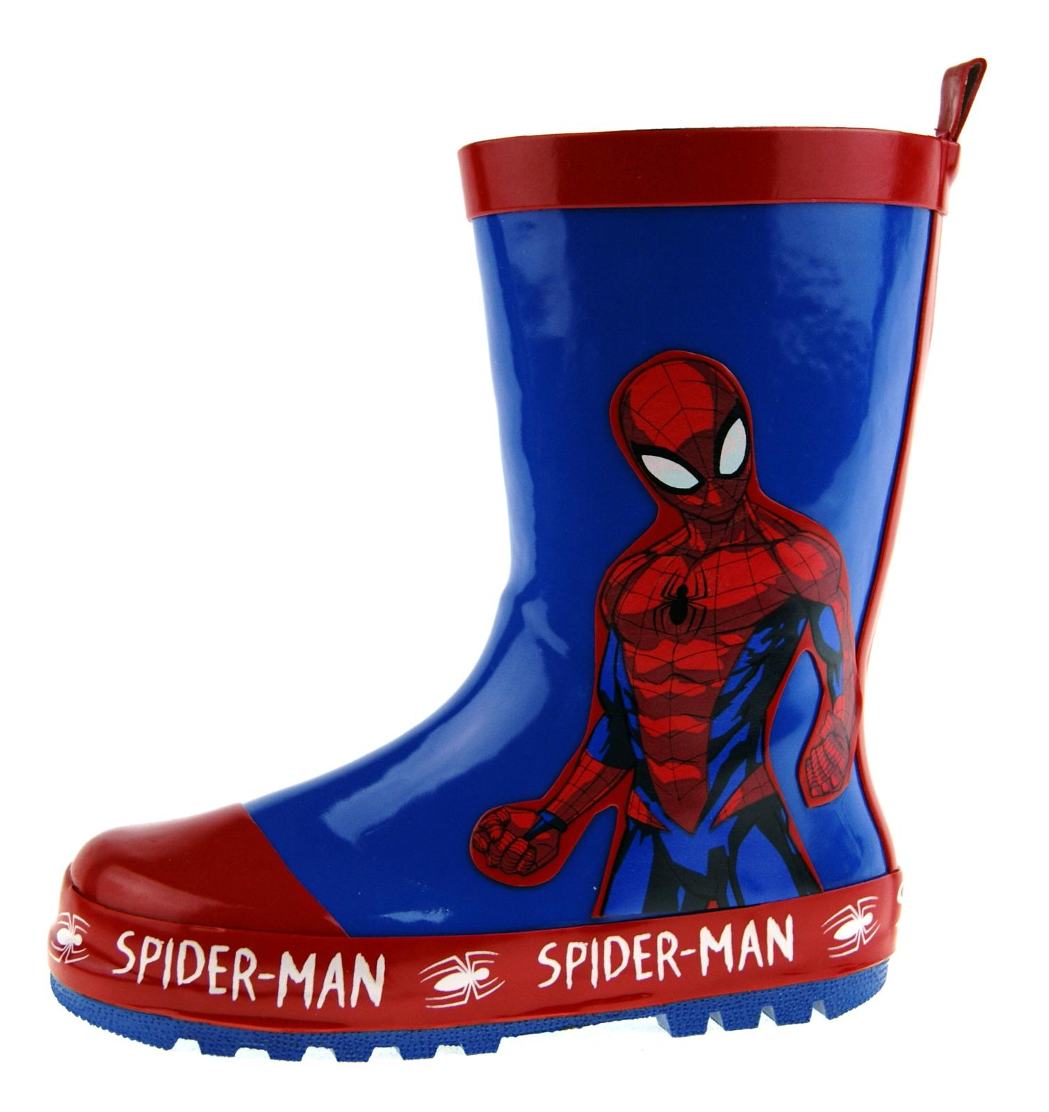 Spiderman Wellington Boots Boys Marvel Superhero Wellies Rubber Snow Boots Size