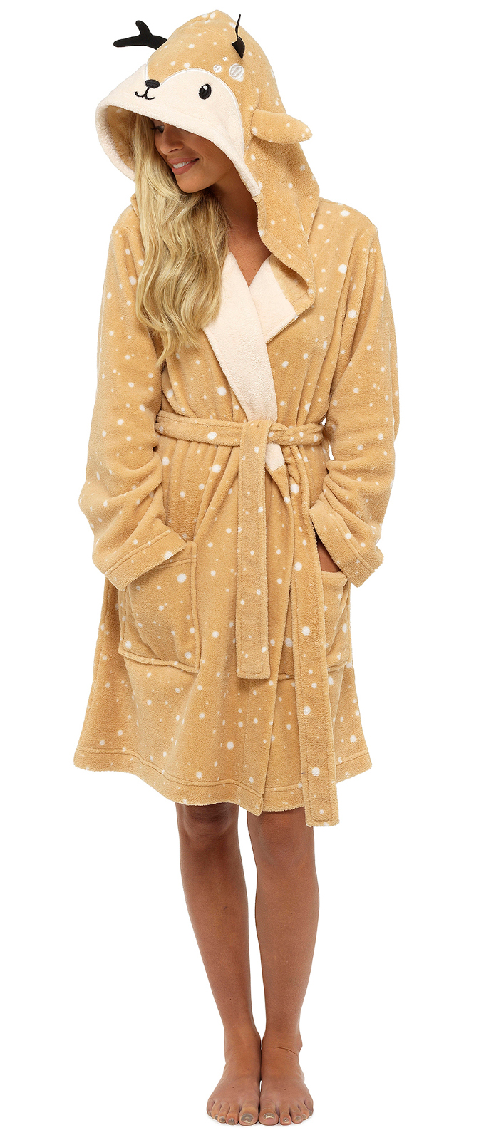 Womens 3D Character Dressing Gowns Deer Racoon Penguin Fleece Bath Robe Size