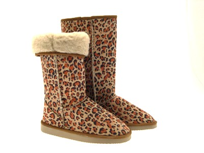 LADIES ELLA CLASSIC FUR LINED SNOW SHEEPSKIN FAUX SUEDE BOOTS LEOPARD SHOES 3-8