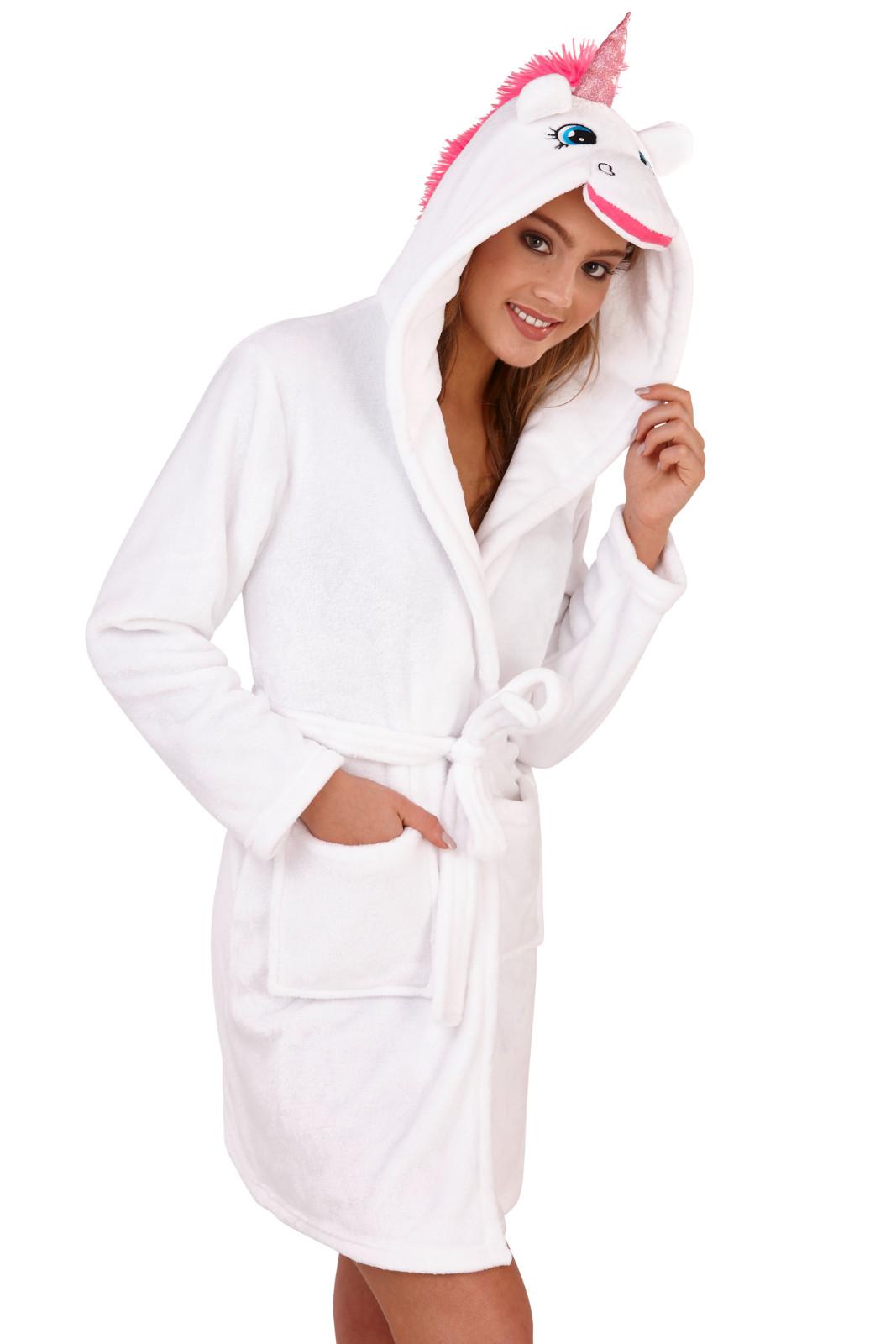 Womens Unicorn Dressing Gown 3D Character Hooded Soft Fleece Housecoat Bath Robe