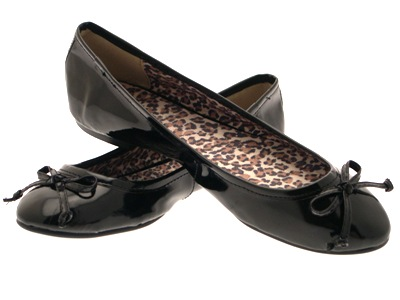 LADIES PATENT FAUX LEATHER BALLET PUMPS COMFORTABLE WOMENS BLACK SIZES 3 - 8