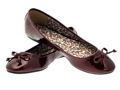 LADIES PATENT FAUX LEATHER BALLET PUMPS COMFORTABLE WOMENS BURGUNDY SIZES 3 - 8