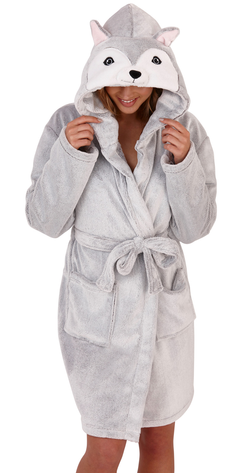 Womens Faux Fur Husky Dog Dressing Gown 3D Character Luxury Hooded Bath Robe