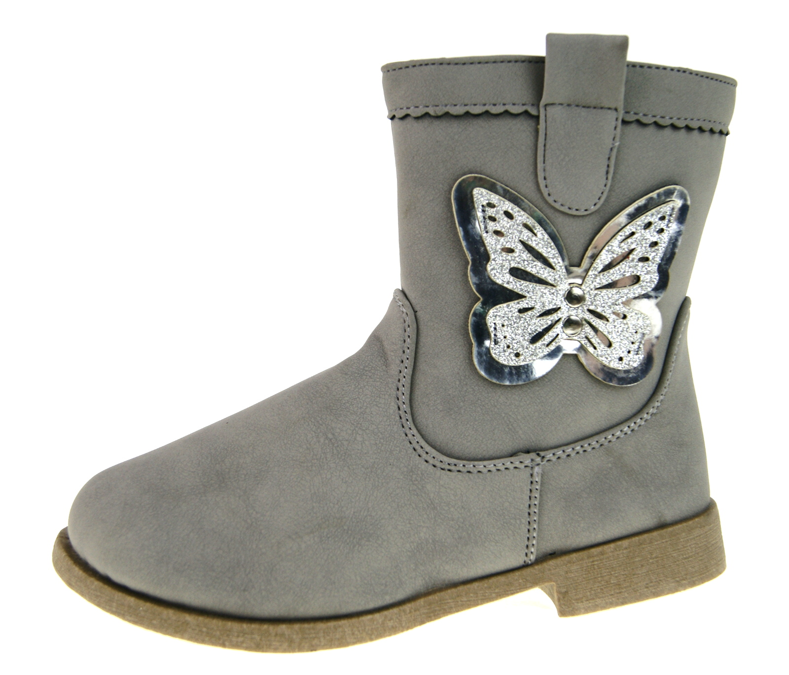 Buckle My Shoe Girls Glitter Butterfly Mid Calf Boots Kids Winter Shoes Size