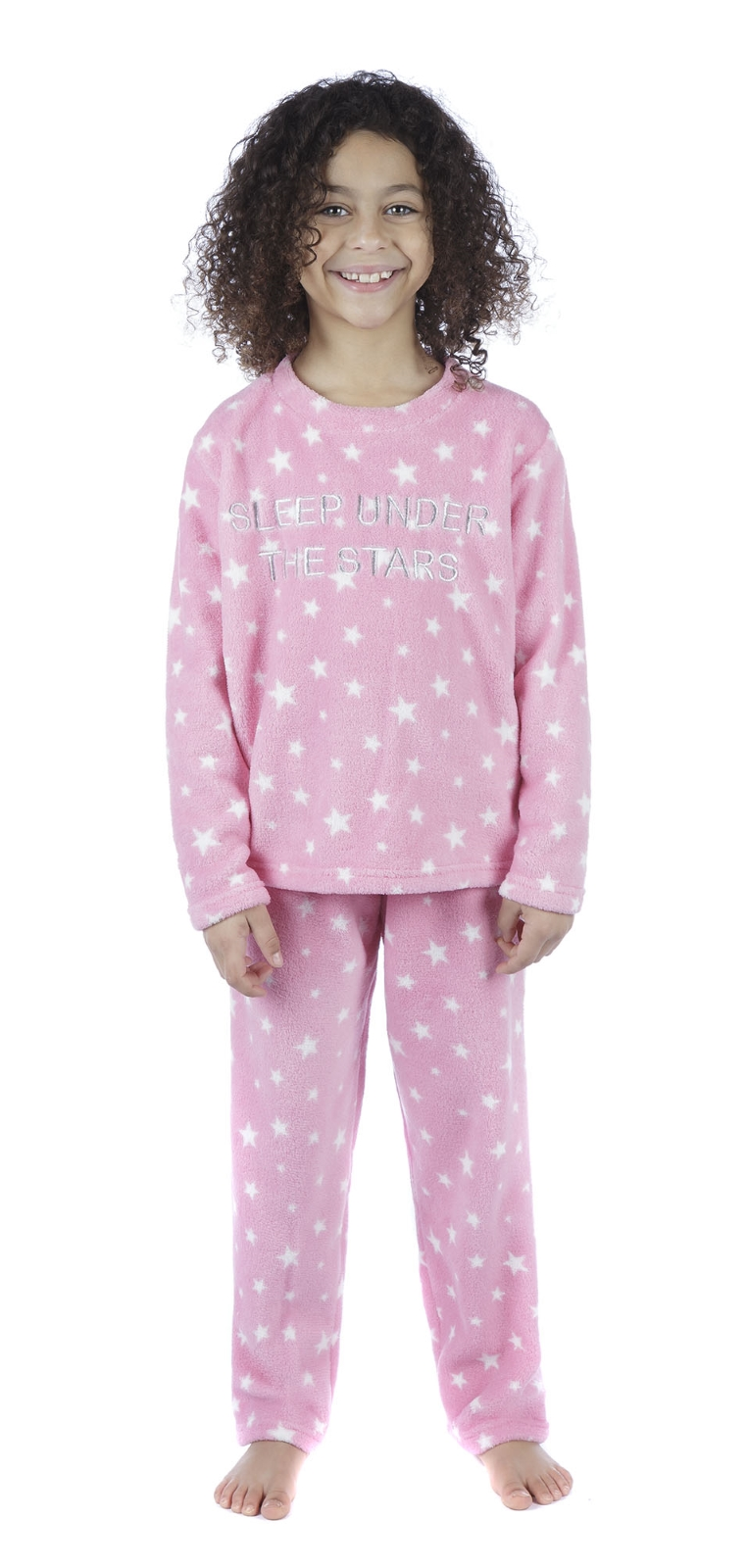 Girls Fleece Pyjamas Slogan Twosie Kids Lounge Set Star Print Xmas Gift Set Size