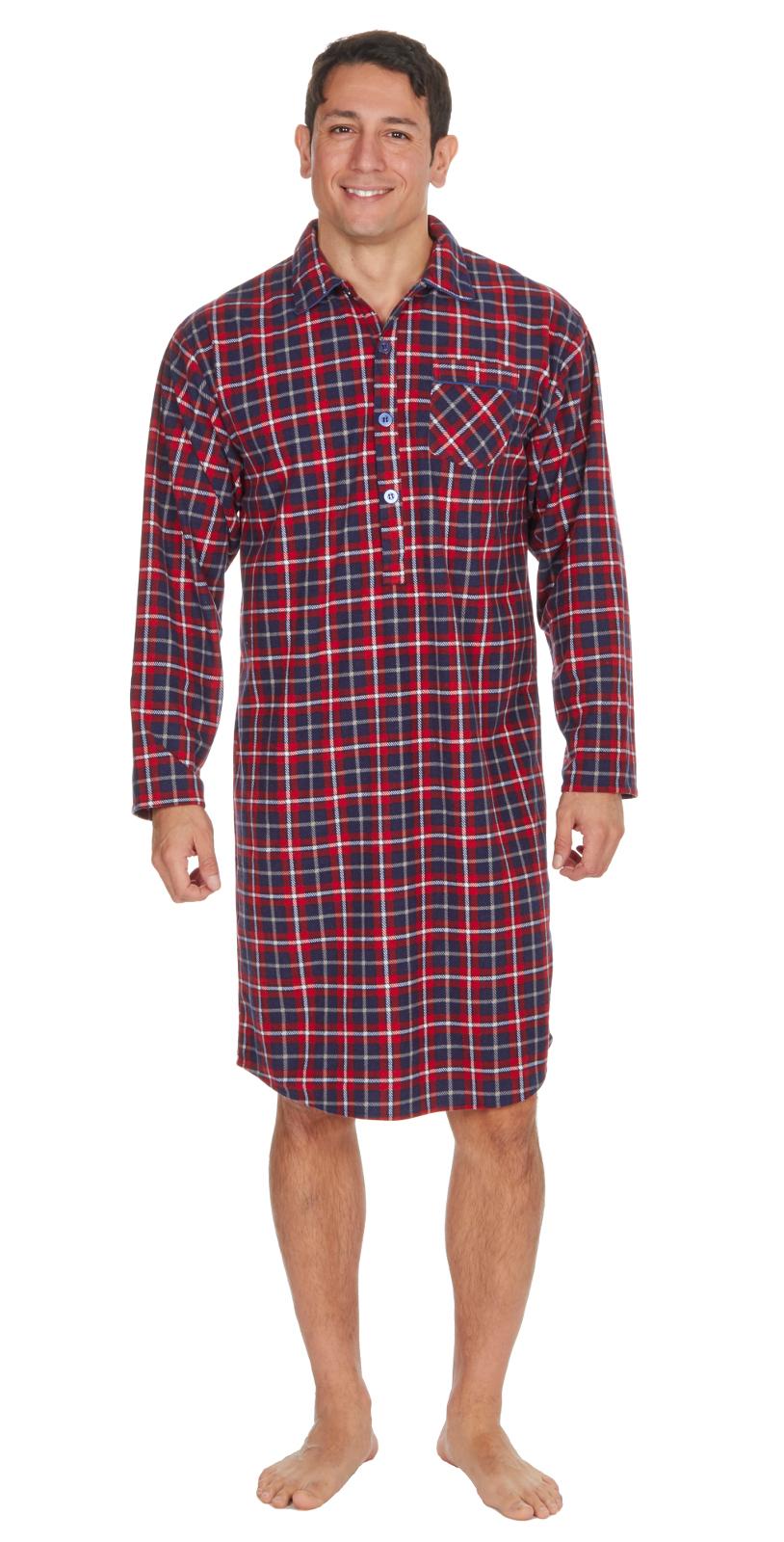 Mens Night Shirt Traditional Striped Nightshirt Brushed Flannel Warm Pyjamas