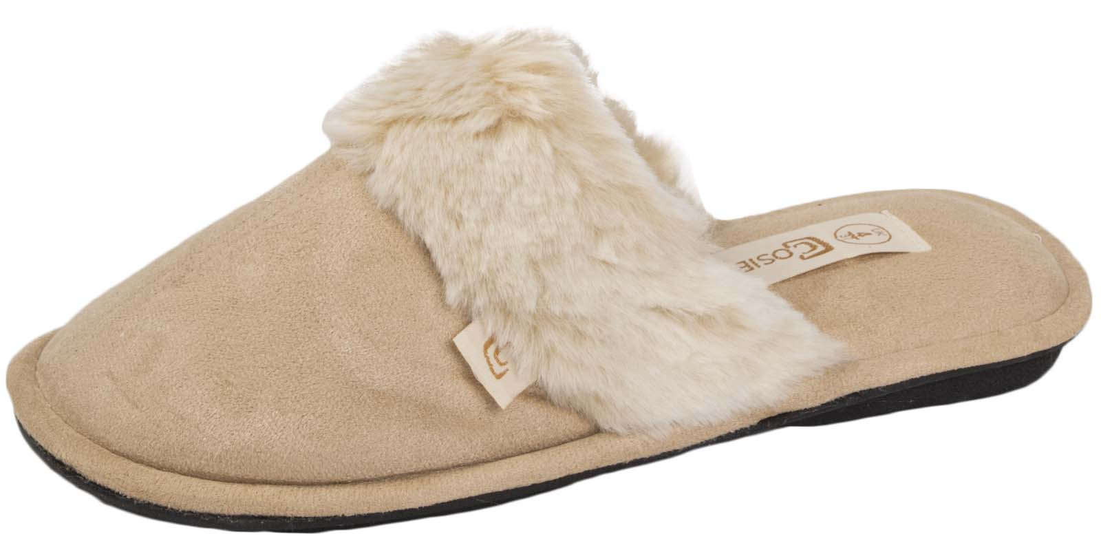 Ladies Faux Fur Trim Mule Slippers Womens Slip On House Shoes Birthday Xmas Gift