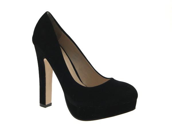 Designer Black Platform Court Shoe With High Block Heel