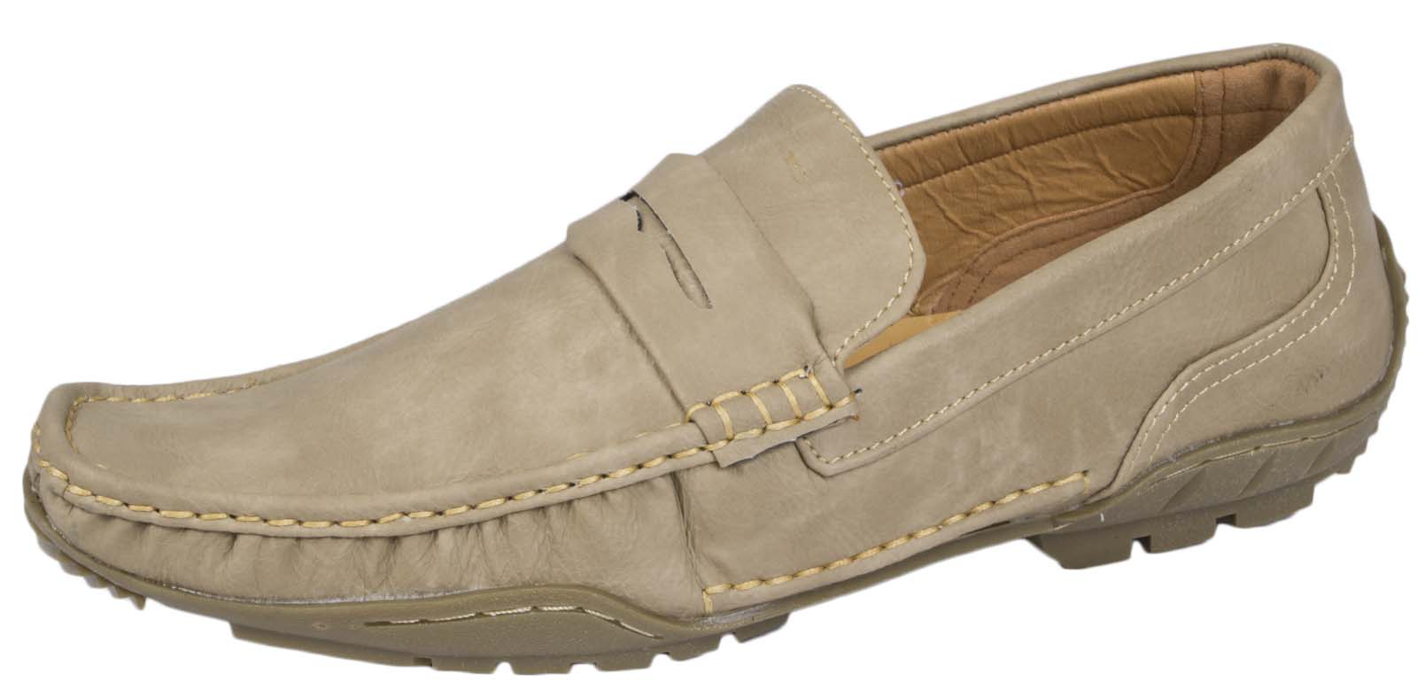 MENS-MOCCASIN-MULES-LOAFERS-FLEXIBLE-SOLE-SHOES-BLACK-TAN-BROWN-FAUX-SUEDE-6-11