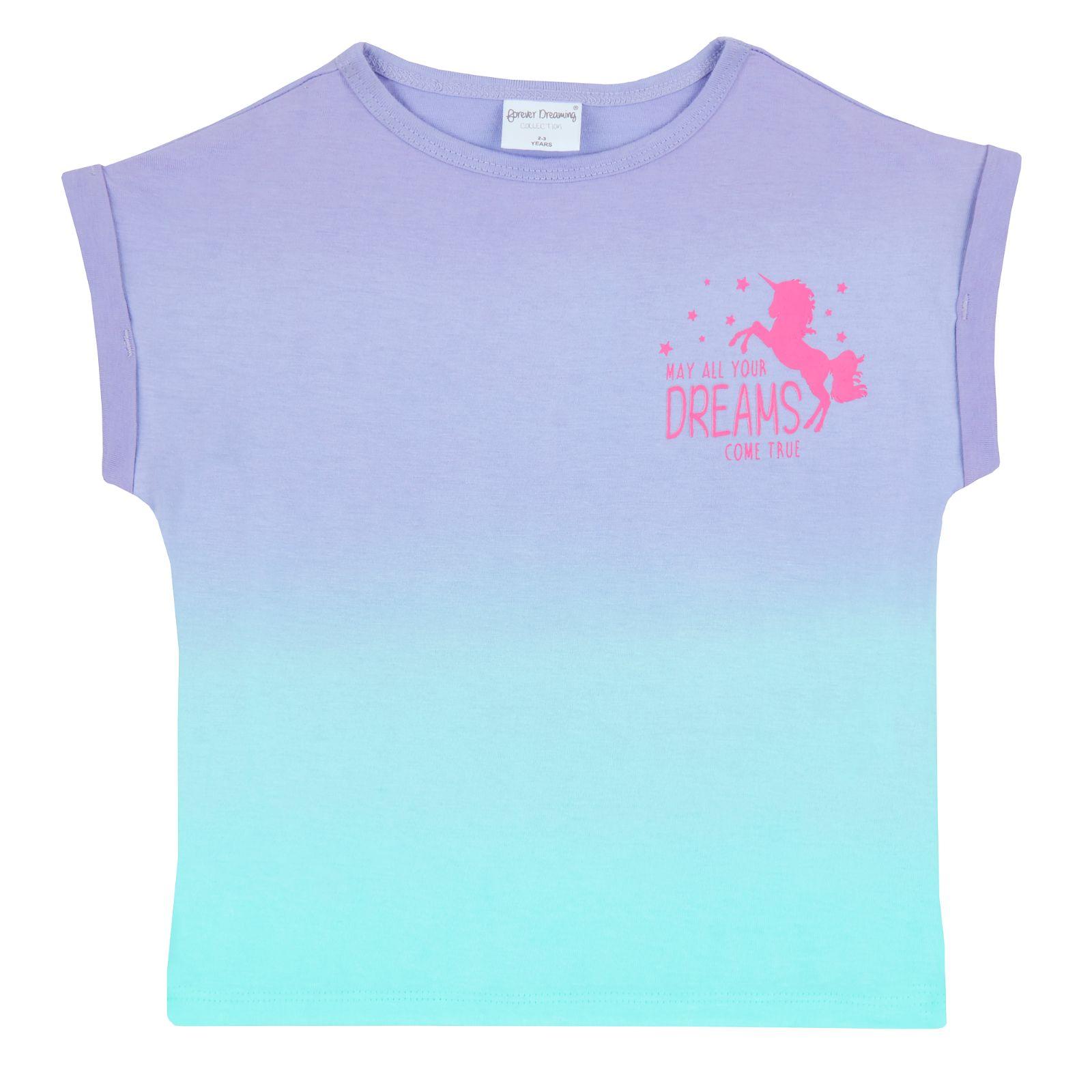 T Shirt Kids Size Girls Unicorn Summer Pyjamas Short Gradient Ombre Pjs Short
