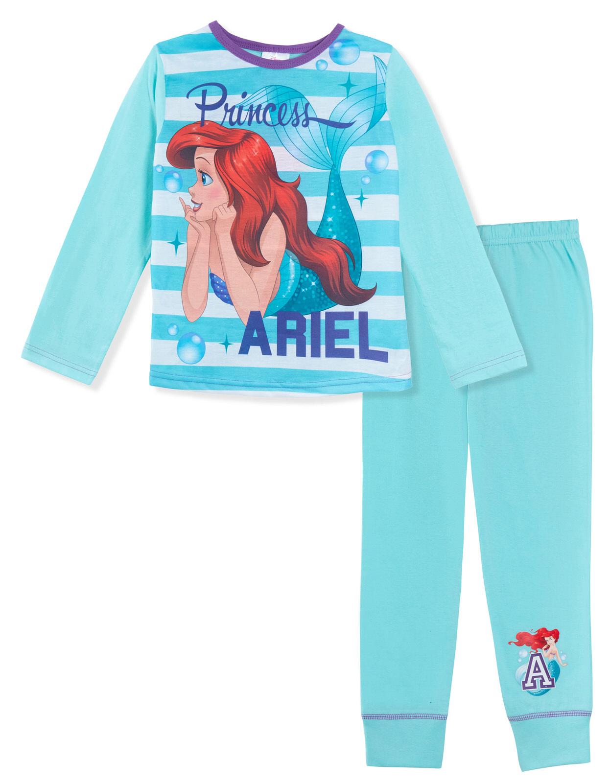 Girls Disney Princess Long Pyjamas Pj/'s Set 2 Piece Cinderella Belle Ariel Size