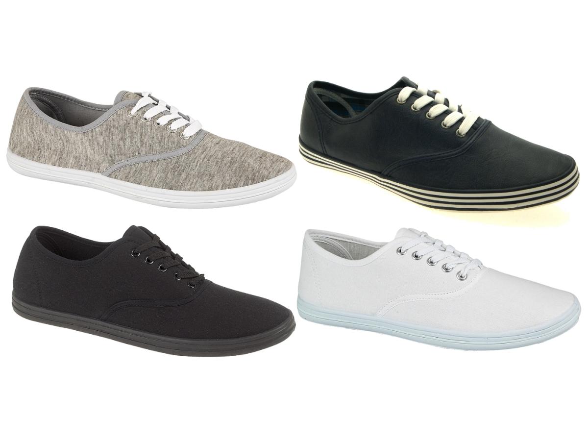 mens plimsoles lace up pumps trainers espadrilles shoes