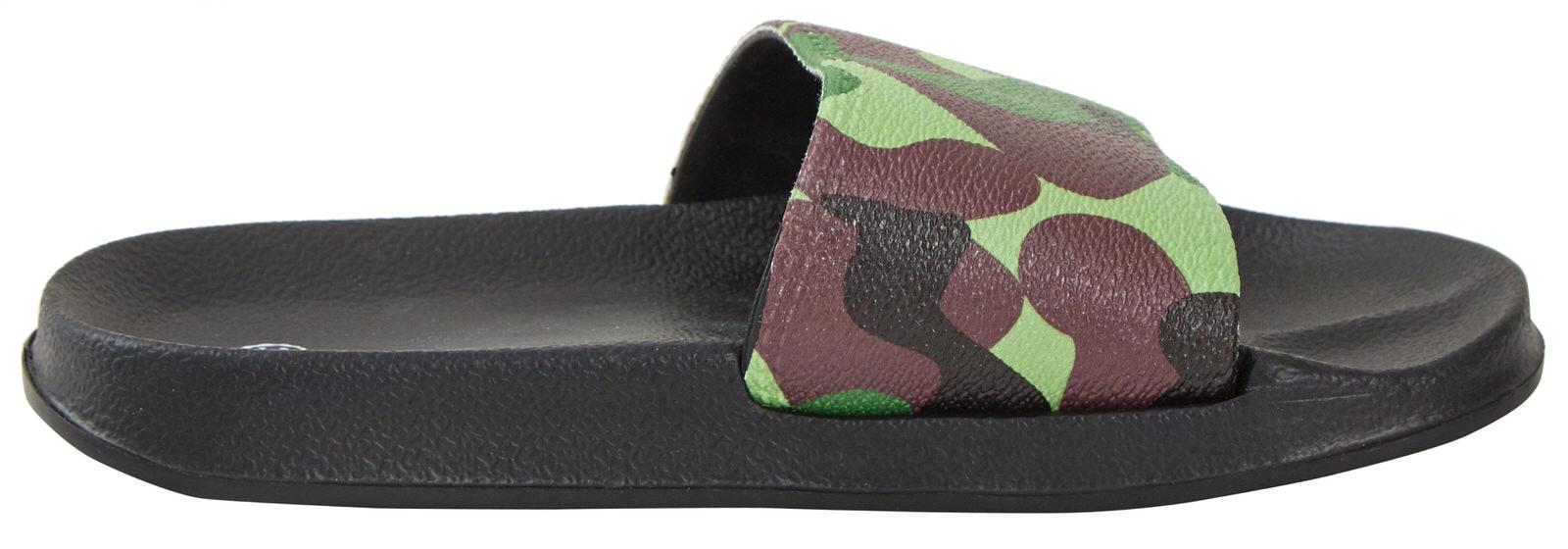 Boys Camouflage Lightweight Sliders Summer Pool Beach Flip Flops Shower Shoes
