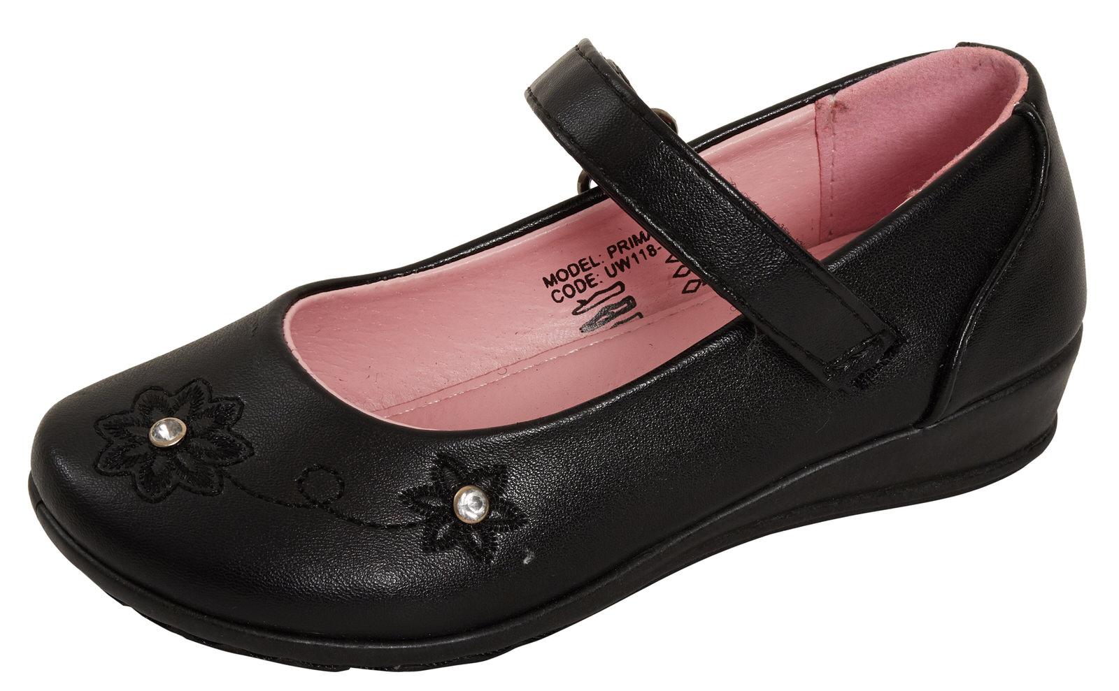 Filles En Cuir Synthétique Noir School Shoes Kids Mary Jane PU PATENT Flat Party Chaussures