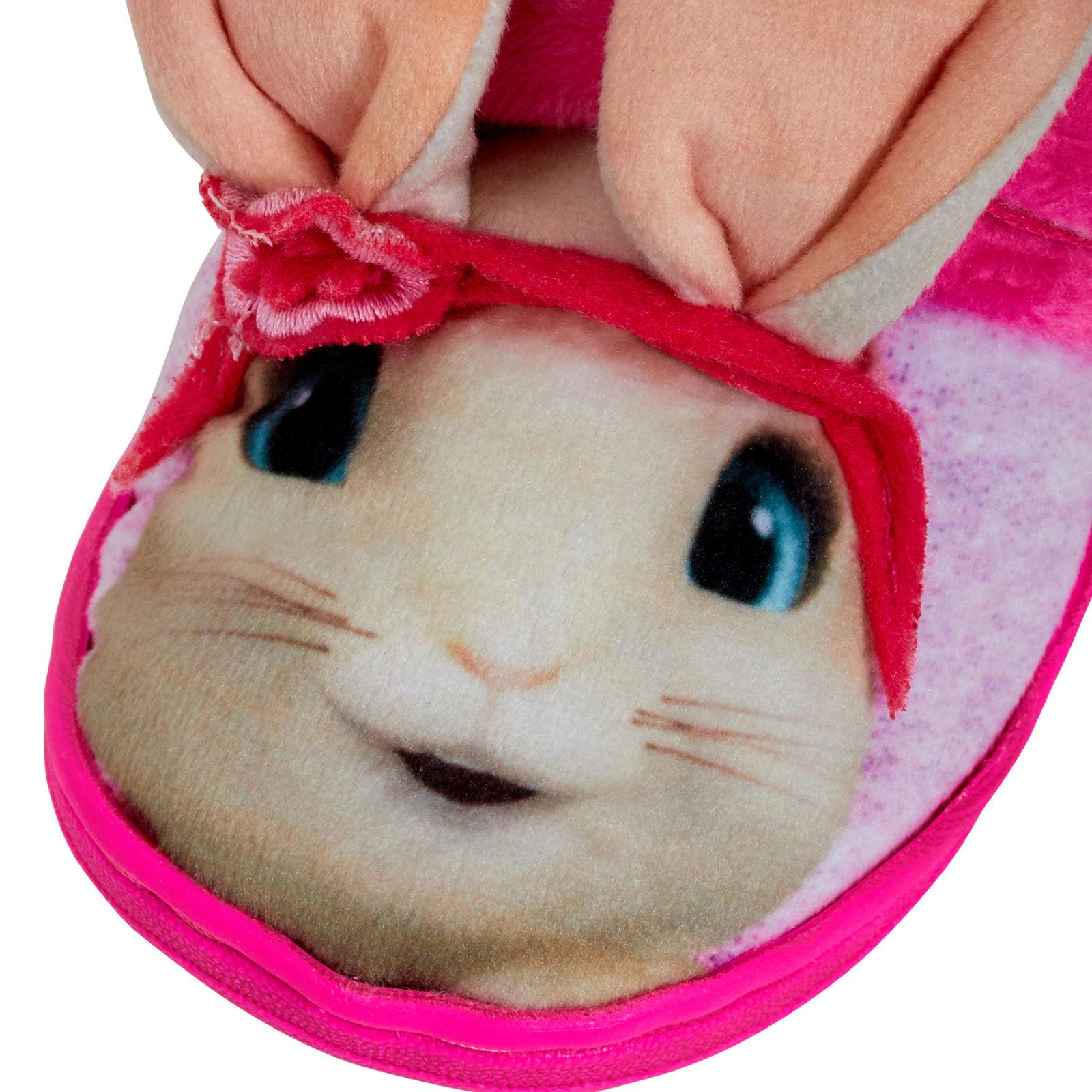 Girls Peter Rabbit Lily Bobtail 3D Slippers Kids Fleece Lined Nursery House Shoe