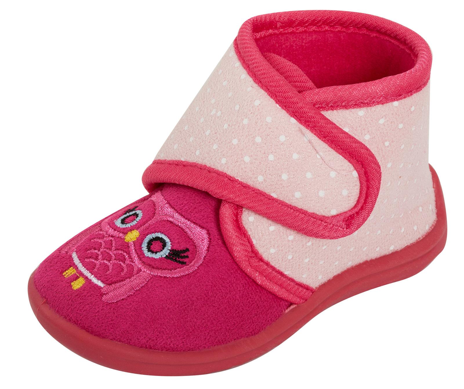 Filles Rose Hibou Bootie Slippers Infant Toddlers Nouveauté facile Attachez Slipper boots