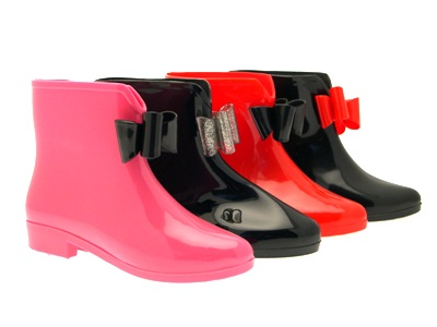 WOMENS ANKLE BOW SHORT WELLIES WELLY WELLINGTON SNOW RAIN BOOTS ...