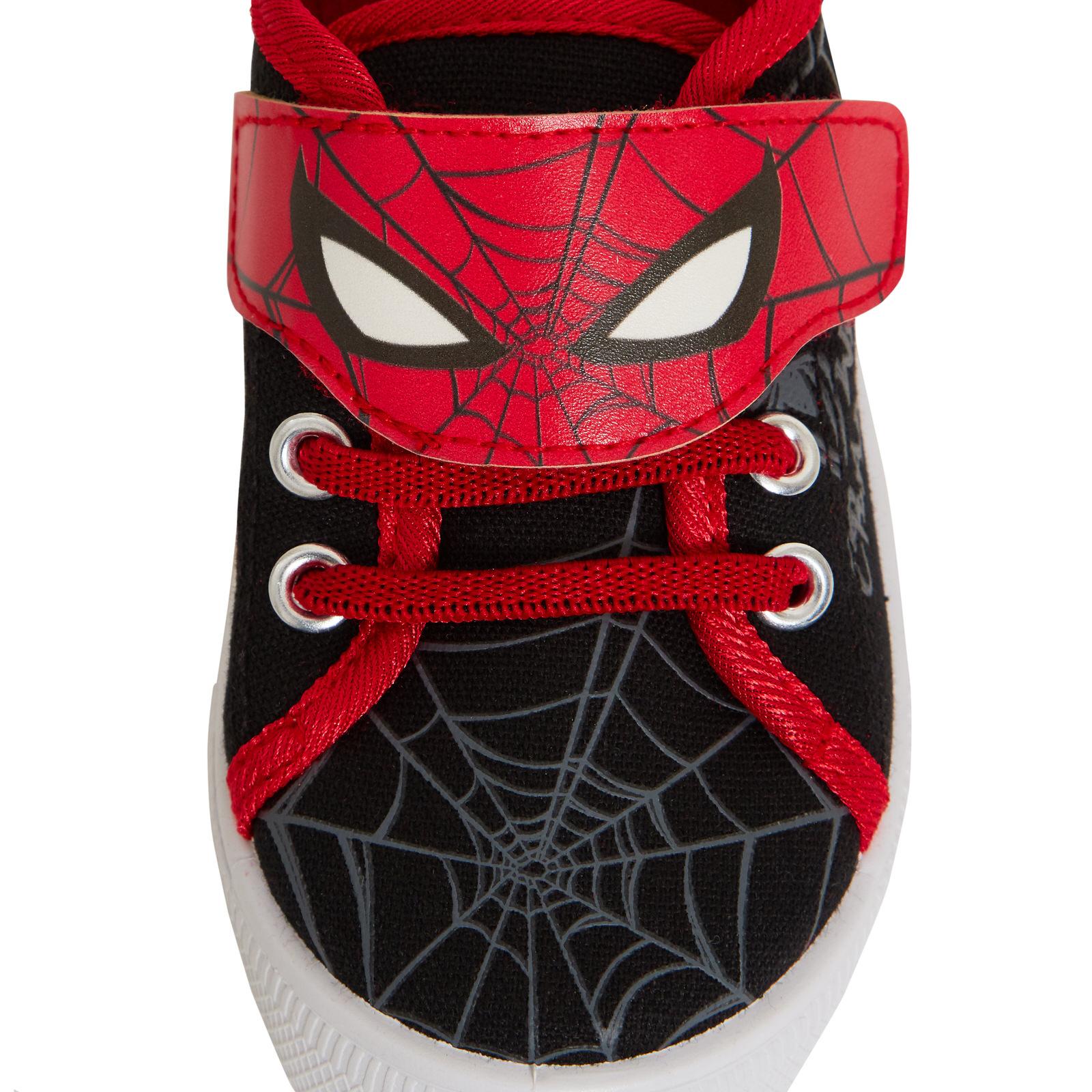 Boys Marvel Spiderman Canvas Pumps Kids Avengers Easy Fasten Trainer Plimsolls
