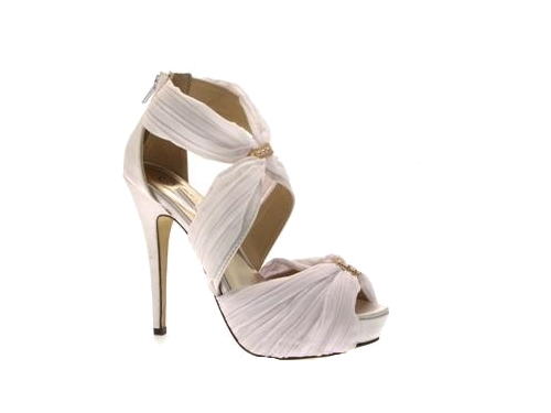 WOMENS CHIFFON STILETTO PLATFORM WEDDING BRIDAL SHOES SANDALS ...