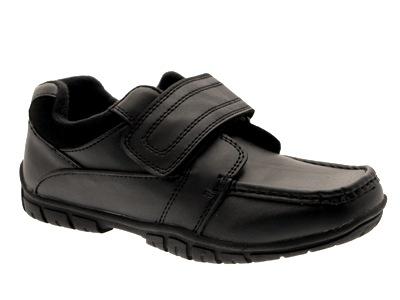 Nuevos NIÑOS CHICOS Negro Imitación Cuero formal Mocasines Zapatos Escolares Velcro Talla 13 - 6