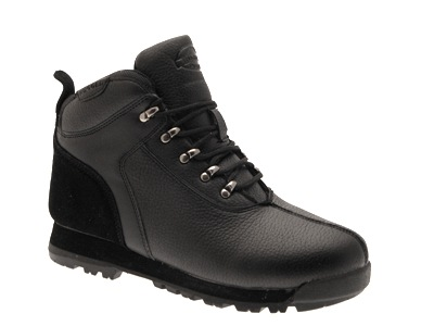 MENS BOYS FAUX LEATHER LACEUP ANKLE WALKING HIKING BOOTS SCHOOL SHOES BLACK 7-12