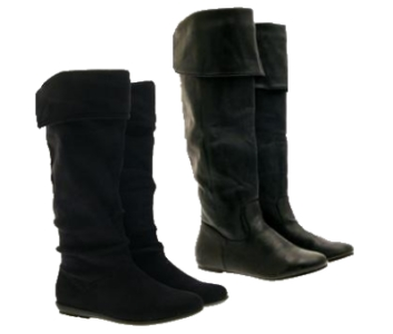 womens slouch cuff flat boots knee length faux