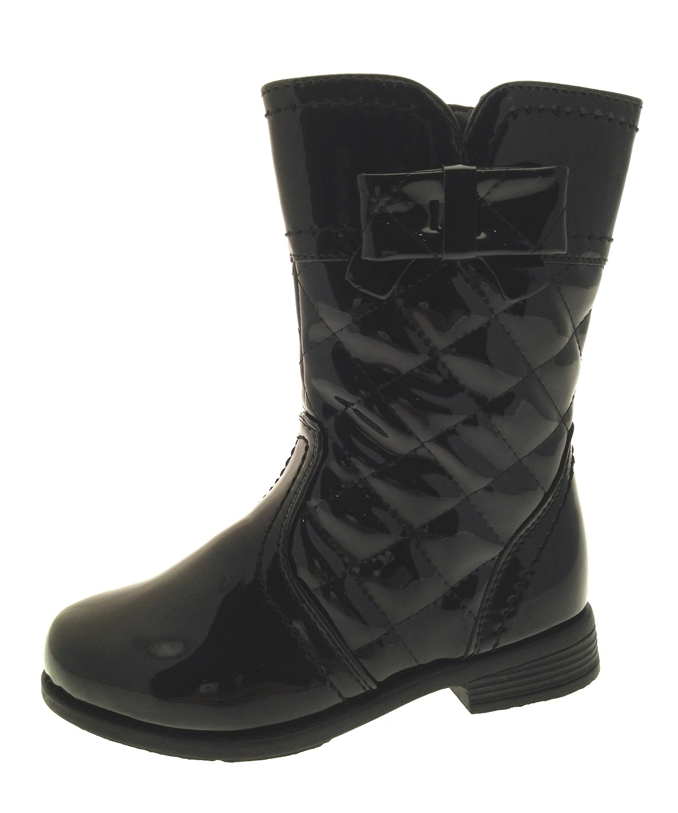 GIRLS KIDS FAUX PATENT LEATHER QUILTED BIKER BOOTS BLACK RED SHOES ...