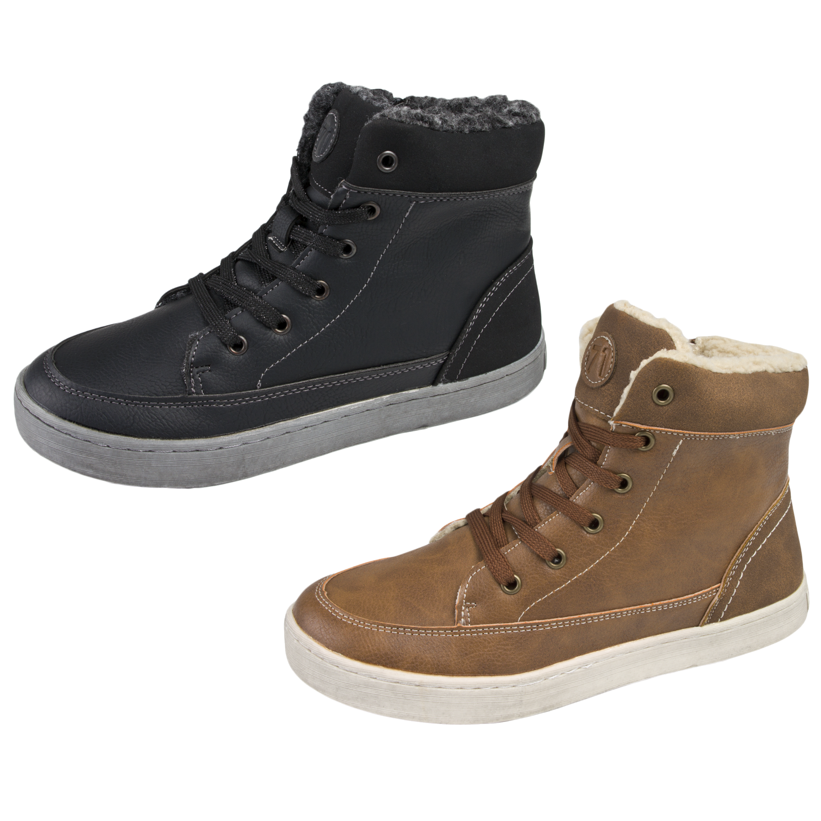 fleece lined hi tops ankle boots trainers womens boys