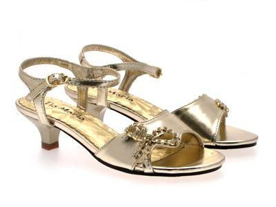 S Low Heel Diamante Wedding Bridesmaid Party Gold