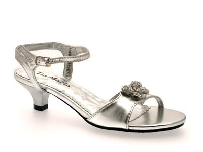 GIRLS LOW HEEL DIAMANTE WEDDING BRIDESMAID PARTY GOLD SILVER SHOES