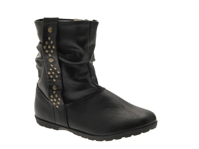 GIRLS BOOTS KIDS MID CALF SLOUCH STUDDED STUD FAUX LEATHER ANKLE BLACK SHOES 7-1