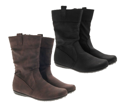 GIRLS BOOTS KIDS MID CALF SLOUCH FAUX LEATHER WINTER BELOW KNEE RIDING SHOES 8-2