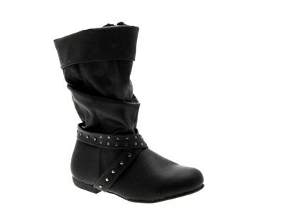 Niñas Niños a la rodilla de imitación de cuero tachonado con tiras de botas negras en el tobillo Zapatos 8 -2
