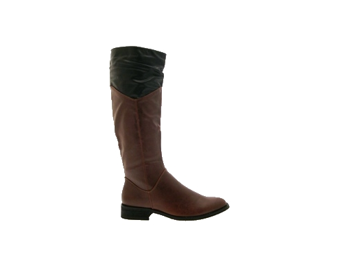 Wonderful SODA WOMENS VISA FAUX LEATHER TWO TONE BUCKLE KNEE HIGH RIDING BOOTS