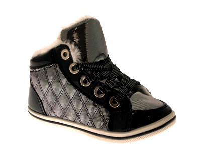 BOYS GIRLS KIDS FUR LINED METALLIC PUMPS LACE UP BOOTS HI TOP TRAINERS SHOES 7-2