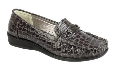 Para Mujer Tacón Bajo confort imitación cuero trabajo zapatos patentes Croc Bar recorte señoras 3 - 8
