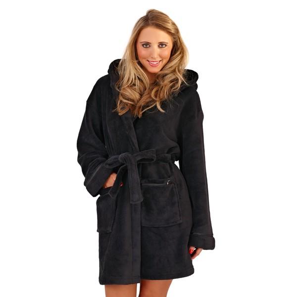 femme capuche court peignoir robe de chambre peignoir avec ceinture femmes sm xl ebay. Black Bedroom Furniture Sets. Home Design Ideas